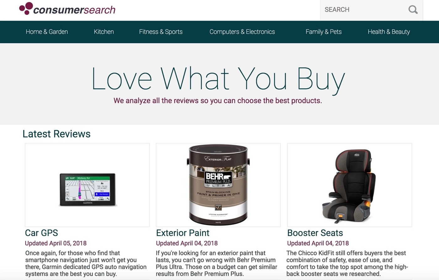 Amazon affiliate marketing example on ConsumerSearch