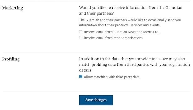 The Guardian GDPR compliant consent example