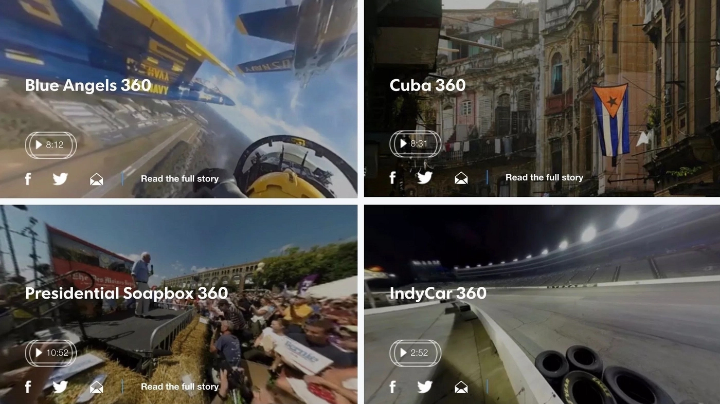 Virtual reality videos on the USA Today website