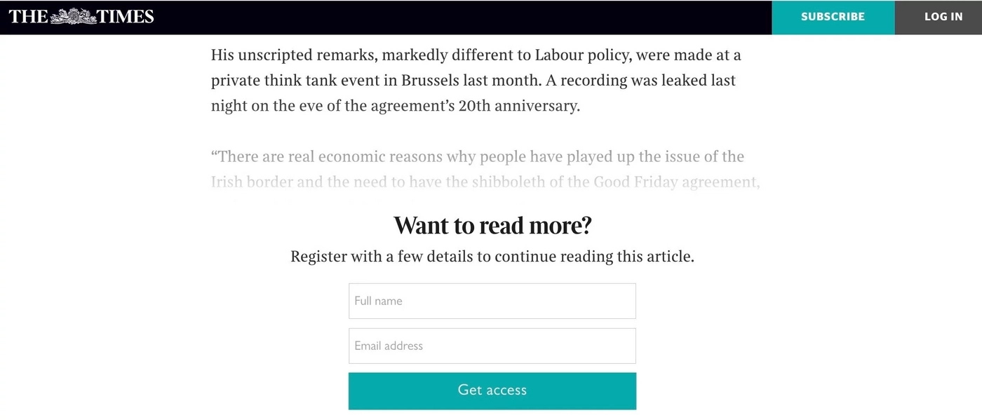 The Times hard paywall example